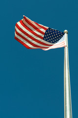 US Flag with blue sky