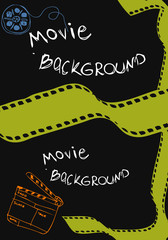 movie background, card, poster, with clapper board, reel of moti