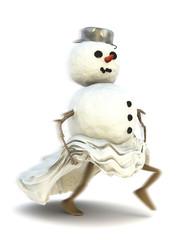 Schneemann rennt davon