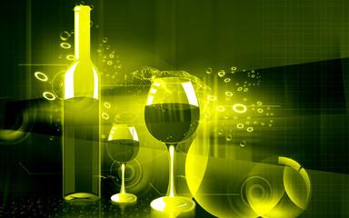Illustration of a wine bottle and wine goblet