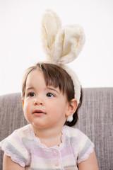 Baby girl with bunny ears