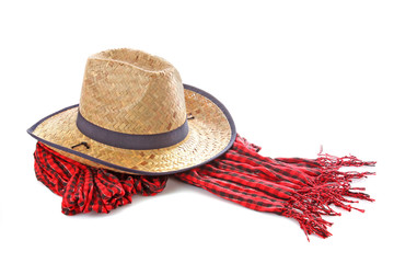 Cowgirl hat and scarf isolated on white