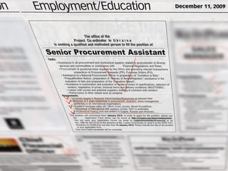 Photo sur Aluminium Journaux ads, newspaper headlines, jobs search, business section