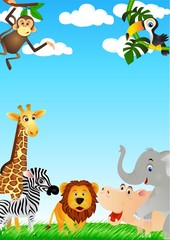 Poster de jardin Zoo Cute animal cartoon in the wild