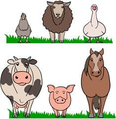 farm animals chicken sheep gooae cow pig horse