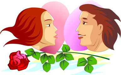 Illustration of couples in face to face and rose