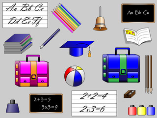 different school objects