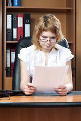 beauty woman secretary in office