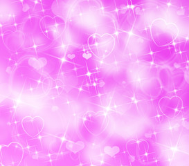 Pink Background with Hearts and Lights