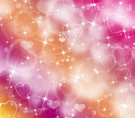 Multicolor Background with Hearts and Lights