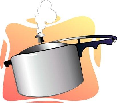 Illustration of pressure cooker with doom