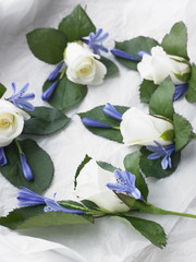 Box Filled With White Rose Corsages
