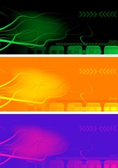 Set of bright abstract banners.