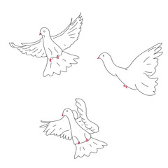 Sketch of three doves