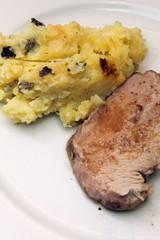 Roti de veau basse température, purée aux truffes