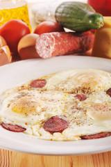 Omelet from eggs
