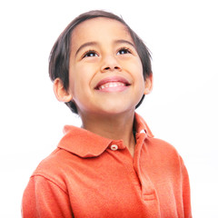 Face of Young Child Smiling Looking Up
