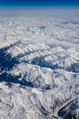 snow mountains from above