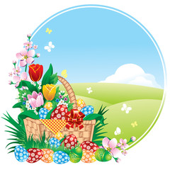 Easter banner with spring flowers and painted eggs