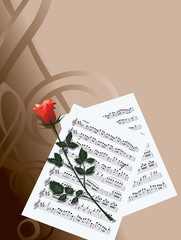 musical notes and a rose