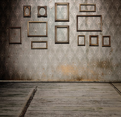 old interior with frames