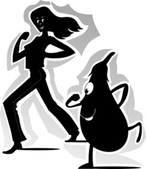 Illustration of lady and brinjal running to the exercise