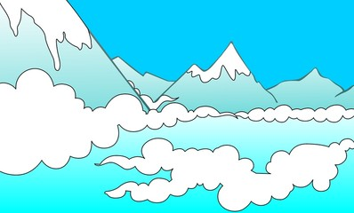 Illustration of a cliff of mountain with clouds
