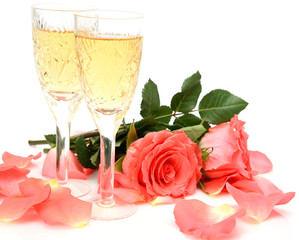 Champagne and flower