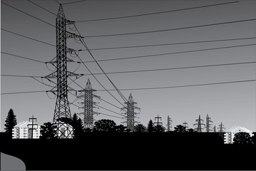 high-voltage line landscape