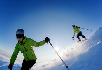 Freeride skier (double exposure)