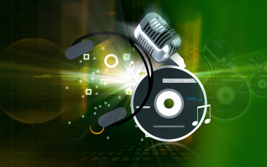 compact disc, headphone and microphone