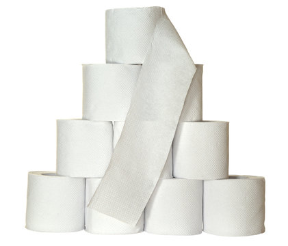 A pyramid of toiletpaper