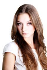 beautiful make-up, brunette young woman
