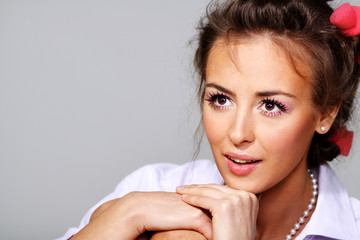 beautiful make-up, brunette young woman