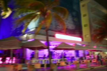 Blurred night colorful lights in Miami Beach