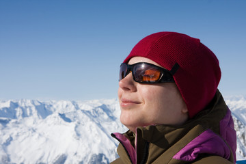 Woman enjoy sun in winter
