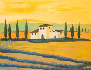 Toskanische Landschaft in Acryl