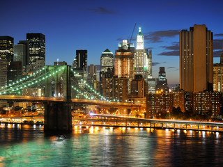 Wall Mural - New york Manhattan bridge after sunset