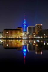 Heinrich-Herz-Turm beleuchtet