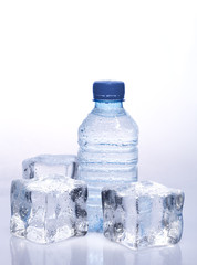 Spring water in the bottle with ice cubes with water drops