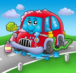 Cartoon car wash on road