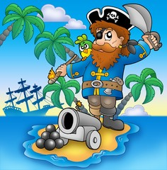 Foto op Plexiglas Piraten Pirate shooting from cannon