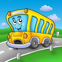 Printed roller blinds Cars Yellow school bus on road