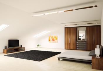 Schlafzimmer dachboden 3d render