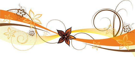 Blume, Blüte, Ranke, filigran, floral, ornamental, orange