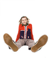 young dreadlock man sit isolated