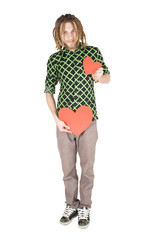 young dreadlock man with red paper heart isolated