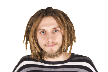 portrait of young dreadlock man isolated