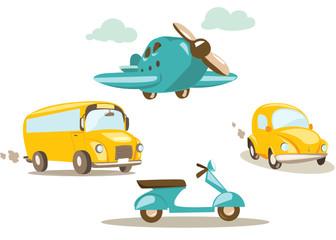 Cartoon vehicles vector illustration