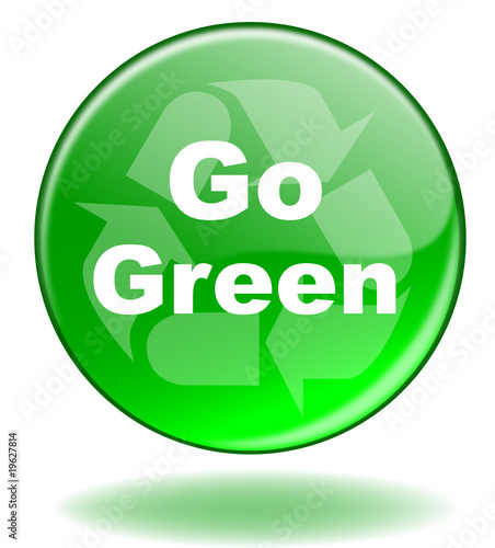 Go Green Button Ecology Recycle Sign Symbol Environment Carbon